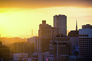 San Francisco Metal Prints - Nob Hill And The Golden Gate Bridge Metal Print by Hal Bergman Photography