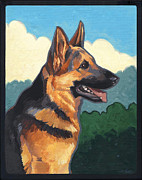 Police Art Painting Originals - Noble German Shepherd Dog by Shawn Shea