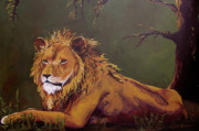 Asia Painting Posters - Noble Guardian - Lion Poster by Patricia Awapara