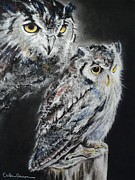Charcoal Pastels Prints - Noble Owl Guardian of the Afterlife Print by Carla Carson