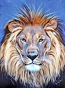 African Lion Painting Framed Prints - Noble Pride Framed Print by Donna Proctor