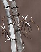 Sumi-e Paintings - Noble Snow Spirit Like Bamboo by Casey Shannon