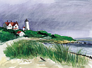 Cape Cod Lighthouse Paintings - Nobska Light by Paul Gardner