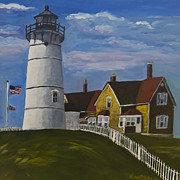 Cape Cod Lighthouse Paintings - Nobska Light by Roger Wedegis