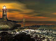 Lighthouse At Sunset Digital Art - Nocturnal Tranquility by Lourry Legarde