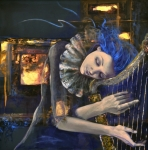 Figurative Paintings - Nocturne by Dorina  Costras