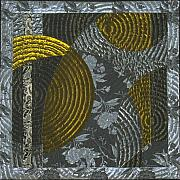 Gold Tapestries - Textiles Posters - Nocturne1 Poster by Marilyn Henrion