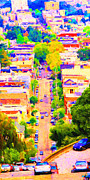 Long Street Digital Art Framed Prints - Noe Street in San Francsico 2 . Long Cut Framed Print by Wingsdomain Art and Photography