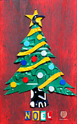 Christmas Mixed Media Prints - Noel Christmas Tree License Plate Art Print by Design Turnpike