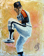 Astros Painting Framed Prints - Nolan Ryan Framed Print by Adam Barone