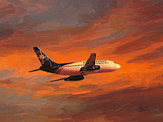 Boeing Paintings - Nolinor Aviation Boeing 737 leaves Montreal Mirabel by Nop Briex