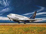 Boeing Paintings - Nolinor Aviation Boeing 737 takes off by Nop Briex