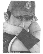 Baseball Drawings Posters - Nomar Garciaparra Poster by Lisa Fort