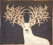 Wood Burning Pyrography Prints - Non-typical Muley Print by Jerrywayne Anderson