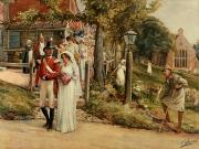 Lithograph Painting Prints - None But The Brave Deserve The Fair Print by James Shaw Crompton