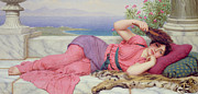 Fan Painting Metal Prints - Noon Day Rest Metal Print by John William Godward