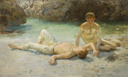 Sunbathing Paintings - Noonday Heat by Henry Scott Tuke
