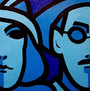 Faces Paintings - Nora Barnacle and James Joyce by John  Nolan