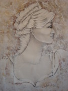 Young Girl Mixed Media Originals - Nora by Paula Weber