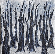 Snowy Night Paintings - Nordic Nights by Ruth Edward Anderson
