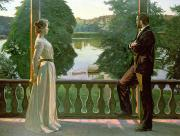 Balustrade Posters - Nordic Summer Evening Poster by Sven Richard Bergh
