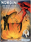 Tricks Prints - Nordini The White Fakir in Devils Hell Print by Unknown
