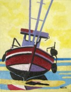 Norfolk; Painting Prints - Norfolk Puddled Boat Print by Lesley Giles