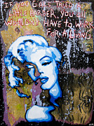 Stencil Art Painting Framed Prints - Norma Jean Framed Print by Bobby Zeik
