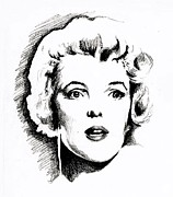 Movie Icon Drawings Posters - Norma Jean Poster by Christopher Martinez