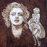Actors Pyrography Framed Prints - Norma Jean Framed Print by Dan LaTour