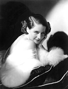 White Fur Prints - Norma Shearer, Ca. 1930s Print by Everett