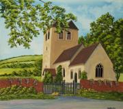 Church Painting Originals - Norman Church In Fingest by Charlotte Blanchard