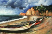 Oil On Canvas Drawings - Normandy Coast - Landscape Oil by Peter Art Prints Posters Gallery
