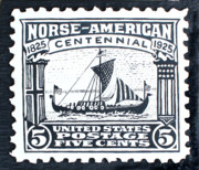 Sea Reliefs Metal Prints - Norse-American Centennial Stamp Metal Print by James Neill