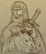 Pig Digital Art Prints - Norse god of agriculture Print by Aloysius Patrimonio