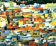 Colorful Village Framed Prints - North African Townscape Framed Print by Robert Tyndall