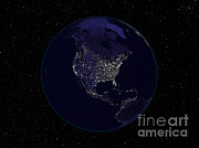 Urbanization Posters - North America At Night Poster by Nasa