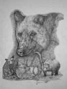 Stippling Originals - North American Bear Collage by Lucien Van Oosten