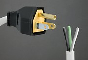 Electrical Plug Prints - North American Mains Plug And Wiring Print by Sheila Terry