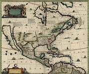 Equator Framed Prints - North American Map Created In 1652 Framed Print by Everett