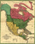 Purchase Posters - North American Political Boundaries Poster by Everett