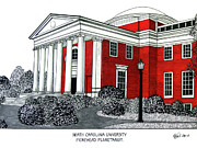 Famous University Buildings Drawings Art - North Carolina by Frederic Kohli