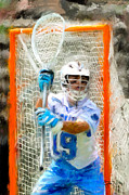 Lacrosse Paintings - North Carolina Goalie by Scott Melby