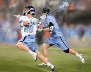 Lacrosse Paintings - North Carolina Lacrosse 2 by Scott Melby