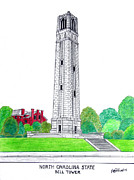Famous University Buildings Drawings Art - North Carolina State by Frederic Kohli