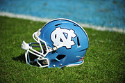 North Carolina Wall Art Prints - North Carolina Tar Heels Football Helmet Print by Replay Photos