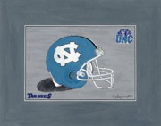 Football Paintings - North Carolina Tarheels Football Helmet by Herb Strobino