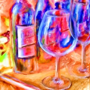 Blue Grapes Mixed Media Prints - North Carolina Wine Print by Marilyn Sholin