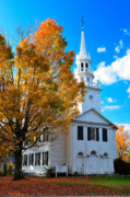 New England Architecture Photos - North Cornwall Meetinghouse by Thomas Schoeller