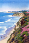 Beach Scene Paintings - North County Coastline Revisited by Mary Helmreich